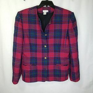 Talbots Wool Plaid Button Blazer Lined w/ Pockets